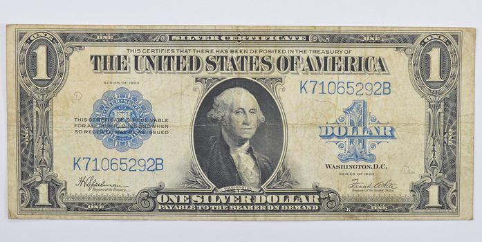 HUGE Horse Blanket - 1923 $1.00 Silver Certificate - Large Size Note ...