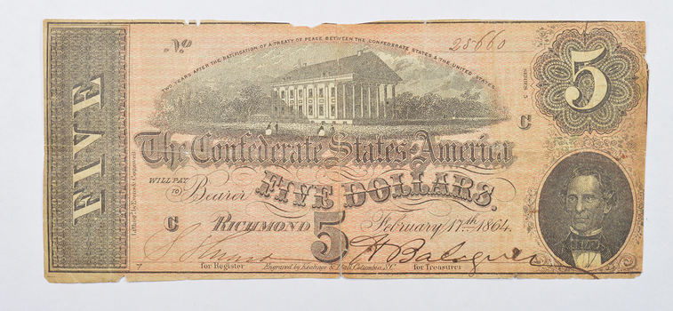 INDIVIDUALLY SIGNED CIVIL WAR 1864 $5.00 Confederate States of American - Over 150 Years Old