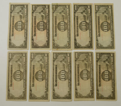 Japanese Invasion Money - Lot of (10) 100 Peso Notes - World War II - Japan in the Phillipines