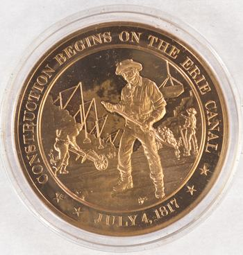 July 4, 1817 Construction Begins On The Erie Canal - Bronze Historic Commemorative Medal