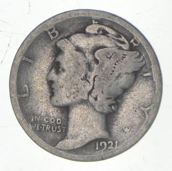 KEY DATE! 1921-D Mercury Head Silver United States Dime - Rare