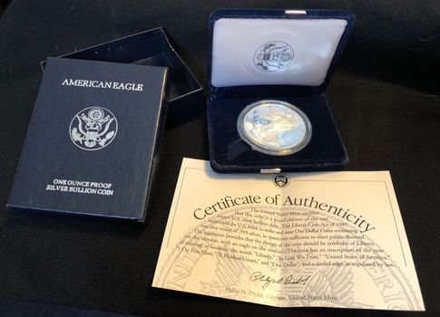 KEY DATE - 1994 - Proof Cameo - American Silver Eagle 1 Troy Oz .999 Fine Silver w/ Box & COA