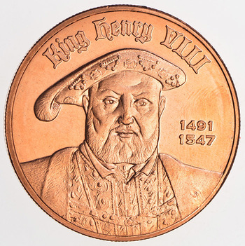King Henry VIII - Coin of the Realm - One Oz. .999 Fine Copper Round - No longer being minted