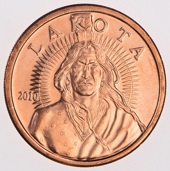 Lakota Indian Tribe - One Oz. .999 Fine Copper Round - No longer being minted