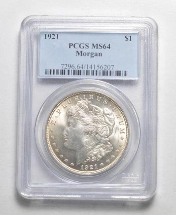LAST YEAR - 1921 Morgan Silver Dollar MS-64 - PCGS Graded