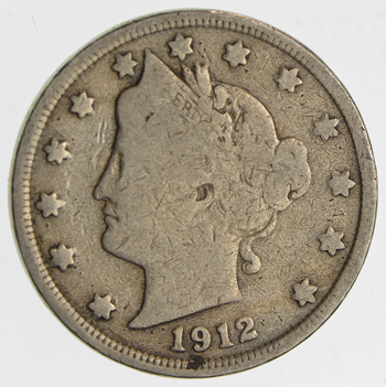 Last Year Issue! 1912 Liberty Head V Nickel - Circulated Condition - Over 100 Years Old!