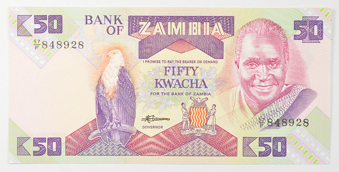Limited Edition African BankOf Zambia FiftyKwacha Note -Uncirculated Foreign CollectableNote