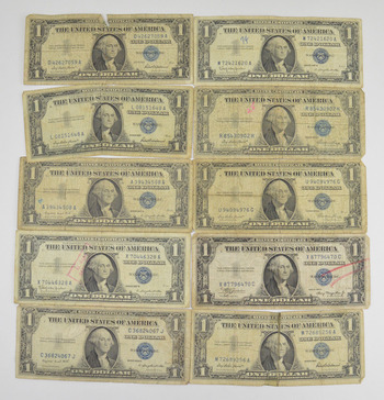 Lot (10) $1.00 1935/1957 Silver Blue Seal Certificate Notes Collection US