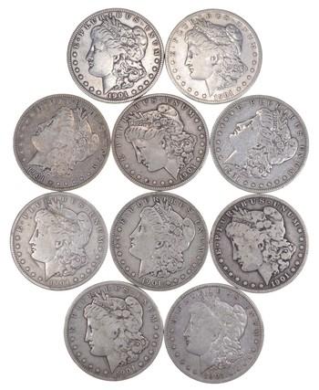 Lot (10) 1901-S Morgan Silver Dollars