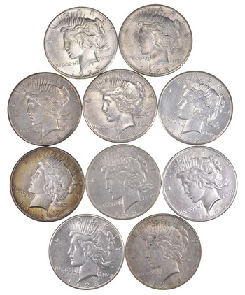 Lot (10) 1928 Peace Silver Dollars - 1/2 Roll WOW!