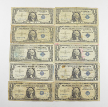 Lot (10) 1957 or 1935 $1.00 Silver Blue Seal Certificate Notes - Collection US Paper