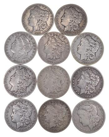Lot (11) 1890-CC Morgan Silver Dollars