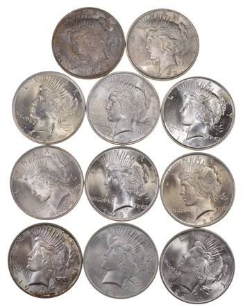 Lot (11) 1922 Peace Silver Dollars - Part Roll