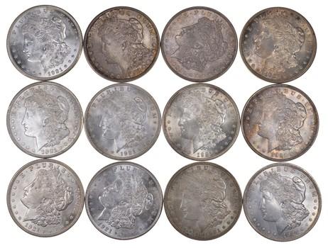 Lot (12) 1921-D Morgan Silver Dollars - Toned - Part Roll