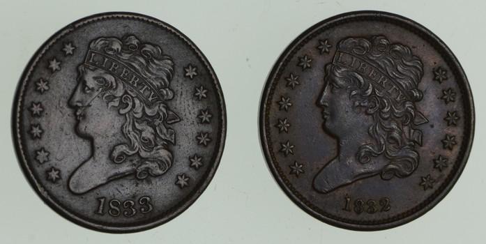 Lot (2) 1832 & 1833 Classic Head Half Cents