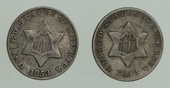 Lot (2) 1852 & 1853 Silver Three-Cent Pieces - Trimes
