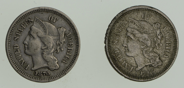 Lot (2) 1865 & 1870 Nickel Three-Cent Pieces - Circulated