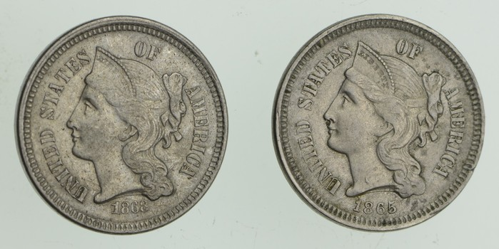 Lot (2) 1866 & 1868 Nickel Three-Cent Pieces