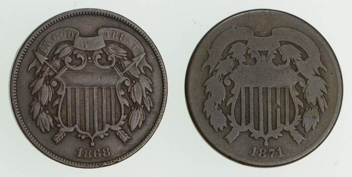 Lot (2) 1868 Two-Cent Pieces
