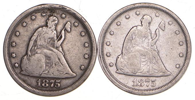Lot (2) 1875-S Seated Liberty Twenty-Cent Pieces