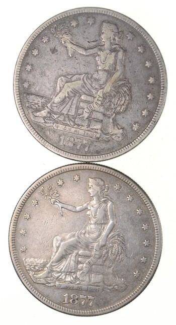 Lot (2) 1877 & 1877-S Seated Liberty Silver Trade Dollars