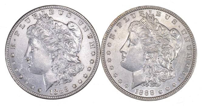 Lot (2) 1888 & 1888-S Morgan Silver Dollars