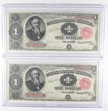 Lot (2) 1891 $1 Treasury Large Size Notes - Consecutive