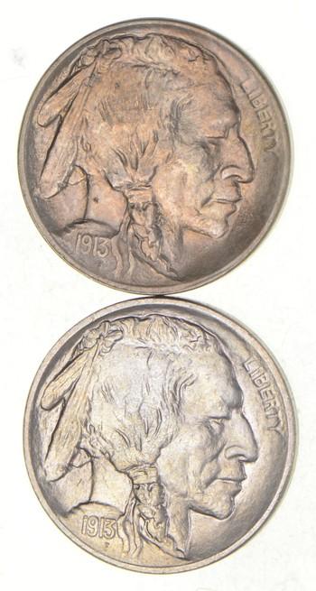 Lot (2) 1913 Indian Head Buffalo Nickels - Type I & II