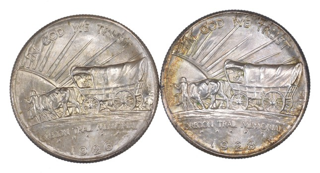 Lot (2) 1926 & 1928 Oregon Trail Commemorative Half Dollars - Uncirculated