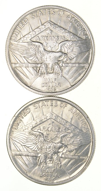 Lot (2) 1935 & 1936 Arkansas Commemorative Half Dollars