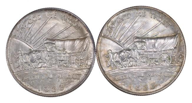 Lot (2) 1936 & 1936-S Oregon Trail Commemorative Half Dollars - Uncirculated