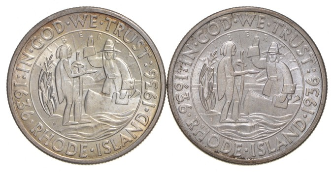 Lot (2) 1936-S & 1936-D Providence Rhode Island Commemorative Half Dollars