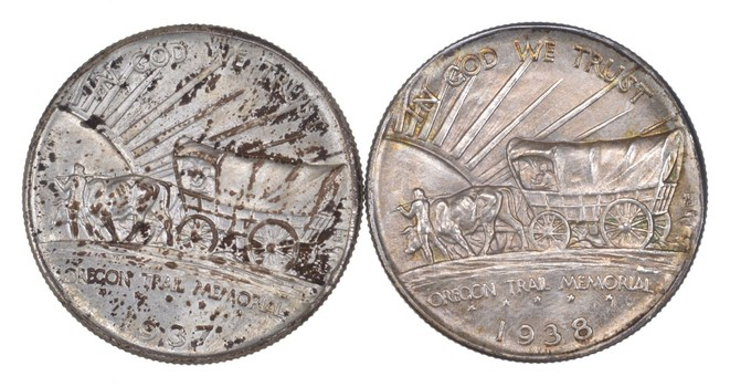 Lot (2) 1937-D & 1938-D Oregon Trail Commemorative Half Dollars - Uncirculated