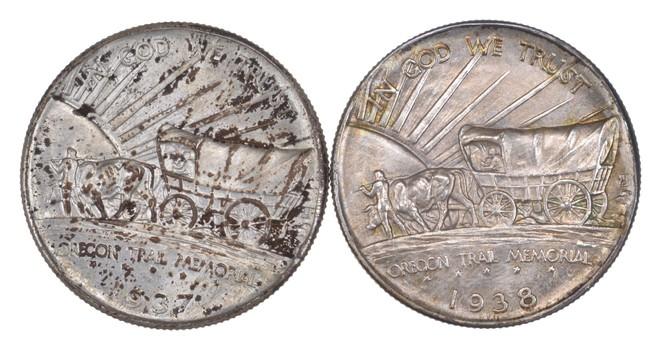 Lot (2) 1937-D & 1938-D Oregon Trail Commemorative Half Dollars - Uncirculated