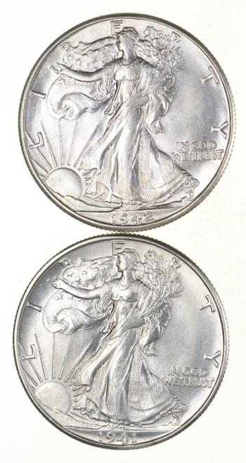 Lot (2) 1941-D & 1942-D Walking Liberty Half Dollars