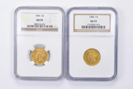 Lot (2) AU55 1854 & 1856 $3.00 Indian Princess Head Three-Dollar Gold Pieces - Graded NGC