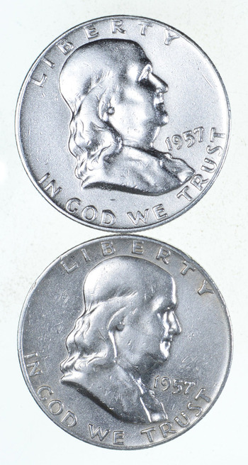 Lot 2 Franklin Half Dollars 1948-63 - $1.00 Face 90% Silver Bullion