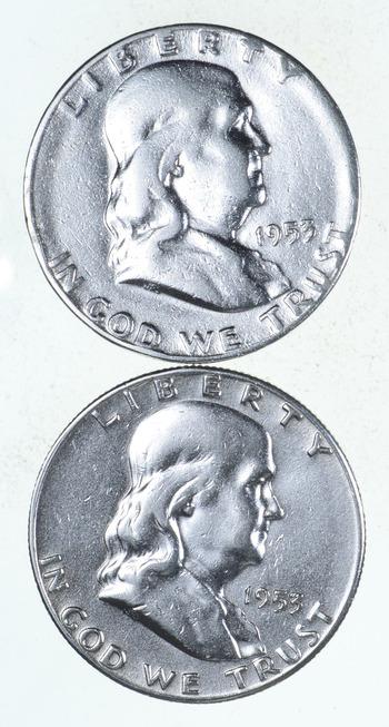 Lot 2 Franklin Half Dollars 1948-63 -$1.00 Face 90% Silver Bullion