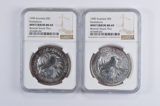 Lot (2) Mint Error MS69 1990 Australia $5.00 Silver Kookaburra - Rev Struck Thru - Graded NGC