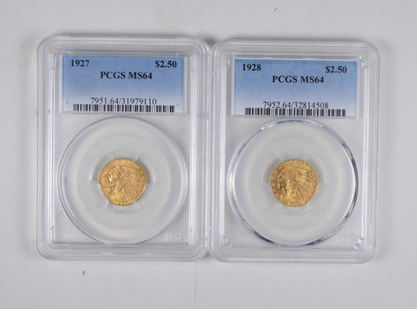 Lot (2) MS64 1927 & 1928 $2.50 Indian Head Gold Quarter Eagles - Graded PCGS
