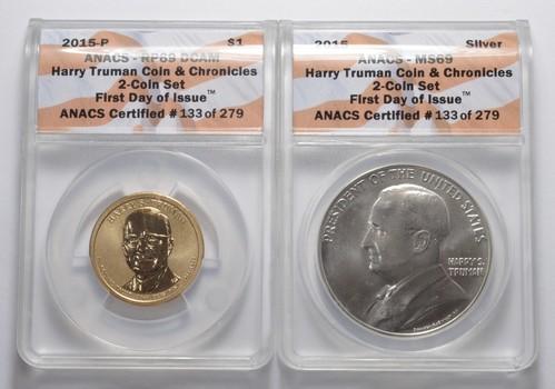 Lot (2) Truman Coin & Chronicles 2-Coin Set - Graded ANACS