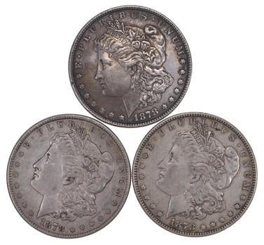 Lot (3) 1878 Morgan Silver Dollars