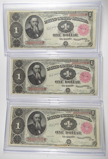 Lot (3) 1891 $1 Treasury Large Size Notes - Consecutive PH