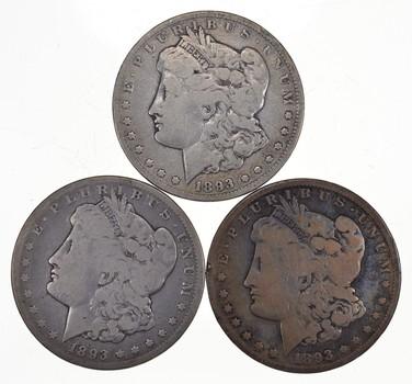 Lot (3) 1893-CC Morgan Silver Dollars
