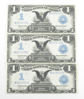 Lot (3) 1899 $1.00 Silver Certificate Treasury Notes - 3 Consecutive Notes