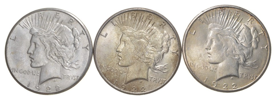 Lot (3) 1922-S Peace Silver Dollars