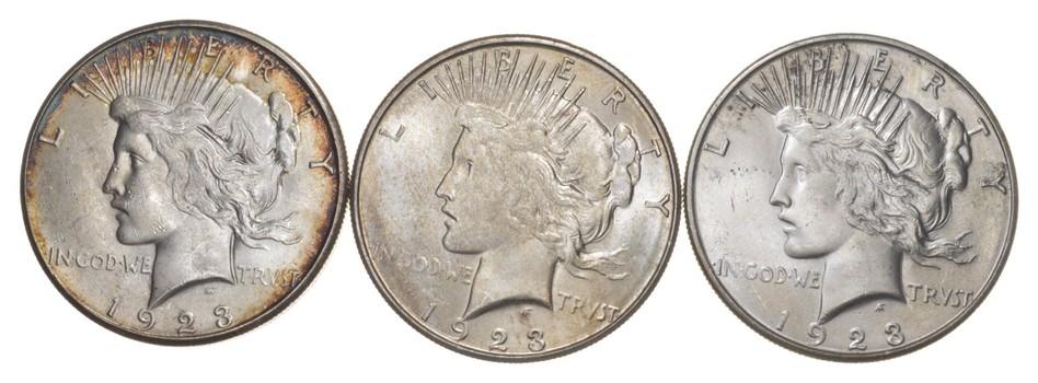 Lot (3) 1923-S Peace Silver Dollars