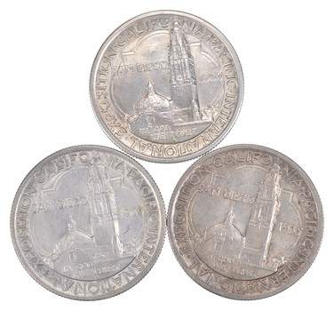 Lot (3) 1935-S California Pacific International Exposition Commemorative Half Dollars