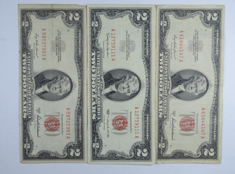 Lot (3) Red Seal $2.00 US 1953 or 1963 Notes - Currency Collection