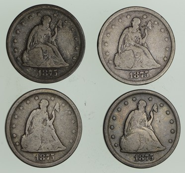 Lot (4) 1875-S Seated Liberty Twenty-Cent Pieces
